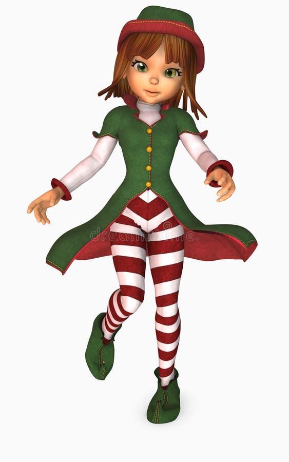duende do Natal da menina de Toon ilustração royalty free