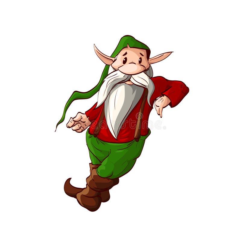 Duende do Natal dos desenhos animados ou uma inclinação do anão ilustração do vetor