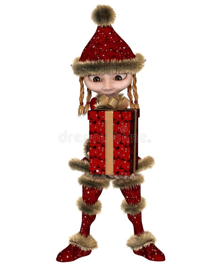 Duende do Natal ou menina do travesso que leva um presente ilustração do vetor