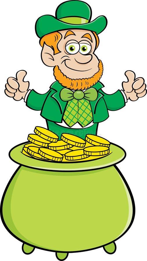 Duende dos desenhos animados que senta-se em um potenciômetro de moedas de ouro ilustração do vetor
