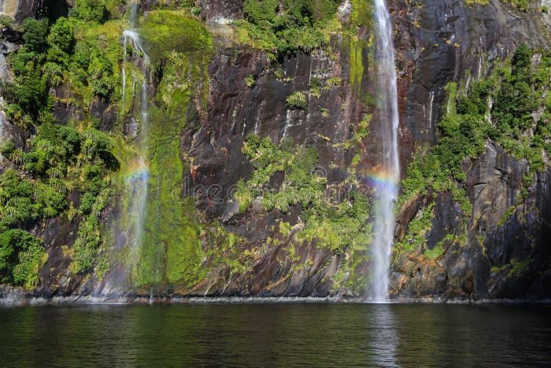 Duende e cachoeira da fada, Milford Sound fotografia de stock royalty free