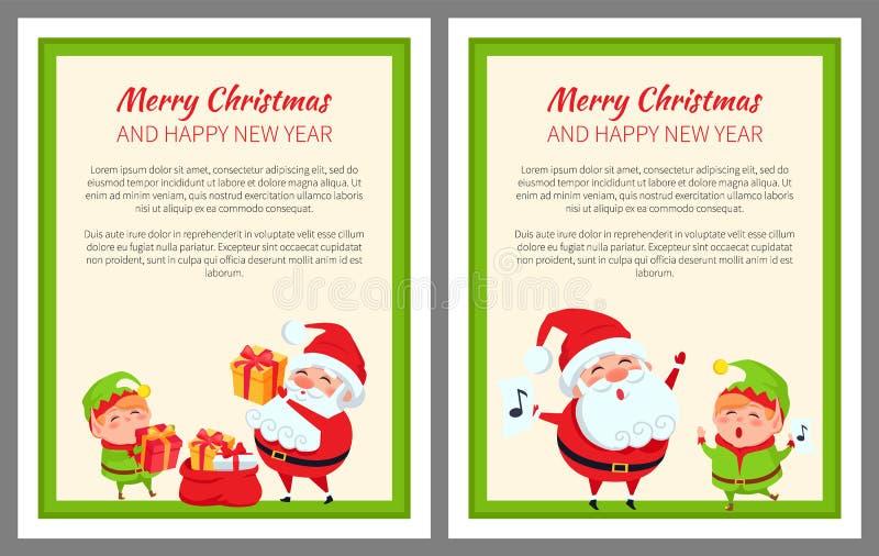 Duende e Santa Claus do ano novo feliz do Feliz Natal ilustração stock