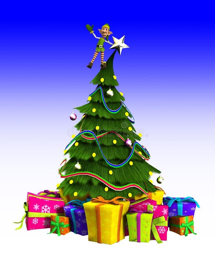 Duende en el árbol de navidad ilustración del vector