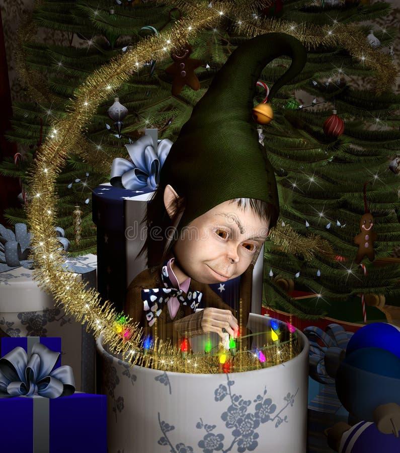 Duende en una caja de la Navidad ilustración del vector