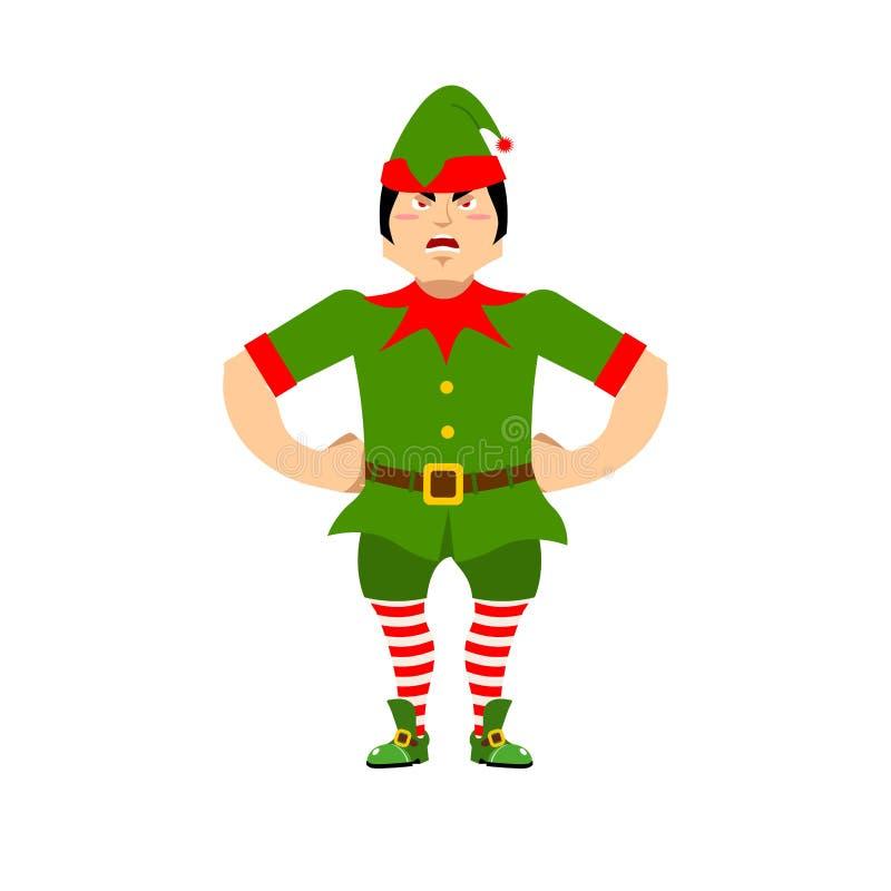 Duende enojado de la Navidad Ayudante agresivo de Santa Claus gruñón stock de ilustración