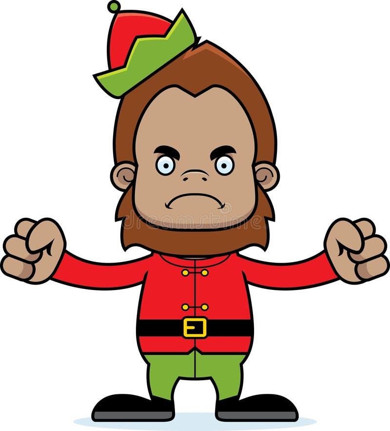 Duende enojado Sasquatch de Navidad de la historieta ilustración del vector