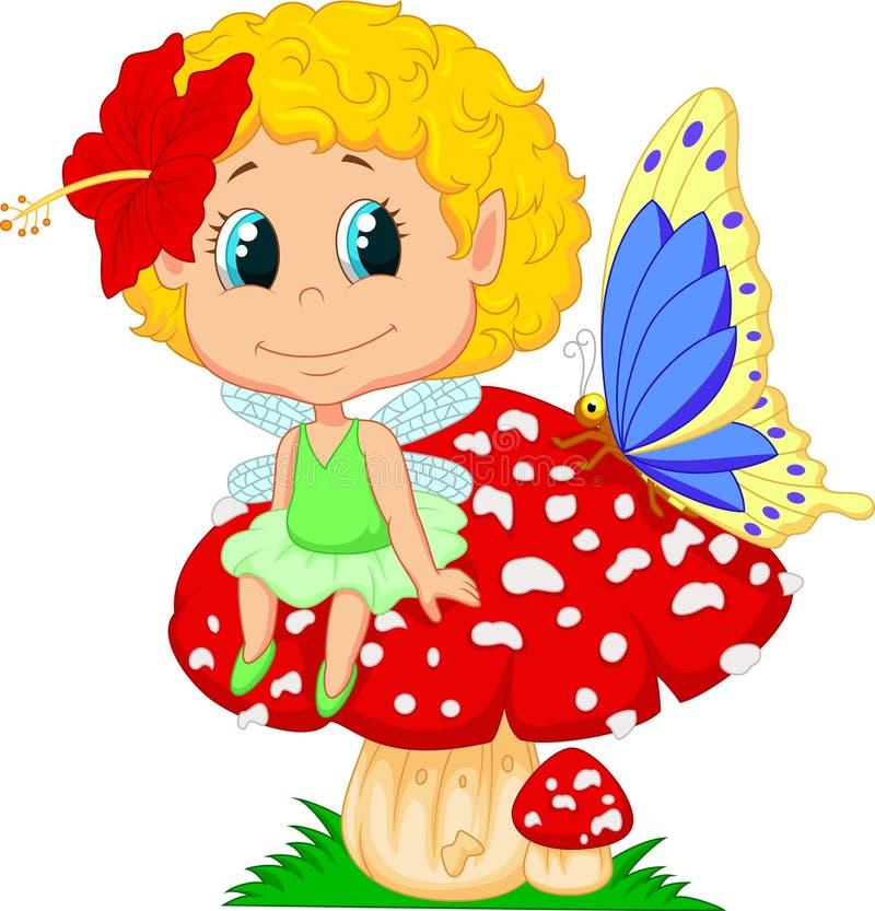 Duende feericamente do bebê dos desenhos animados que senta-se no cogumelo ilustração royalty free