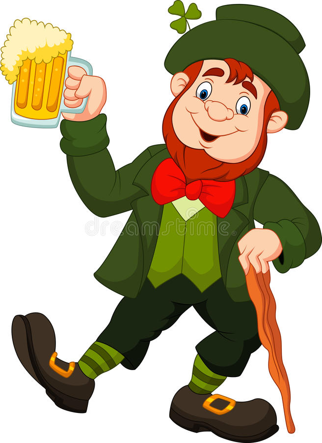Duende feliz dos desenhos animados que guarda a cerveja ilustração royalty free