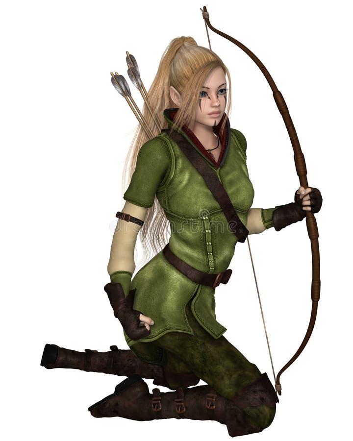 Duende femenino rubio Archer, arrodillándose stock de ilustración