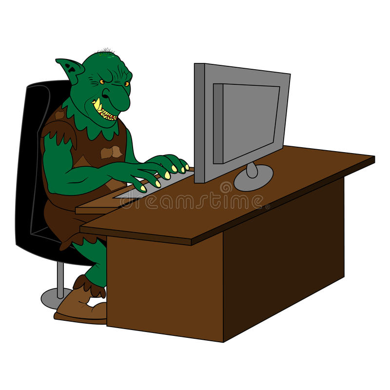 Duende gordo de Internet usando un ordenador stock de ilustración