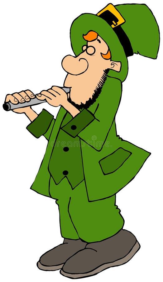Duende irland?s que joga uma flauta ilustração stock