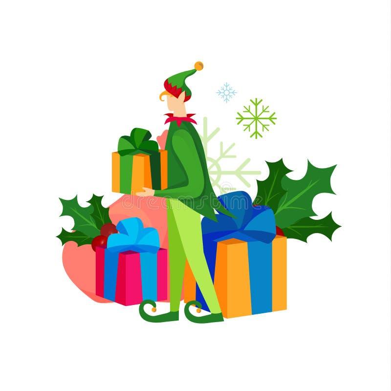 Duende juguetón lindo de la Navidad con el montón de presentes stock de ilustración
