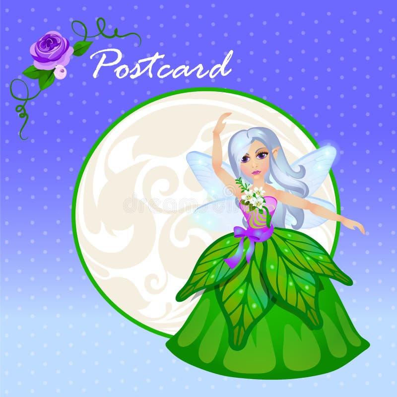 Duende lindo del bosque de la muñeca en vestido verde stock de ilustración