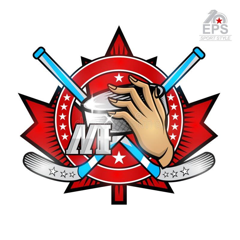 Duende malicioso de hockey del control de la mano con el palillo de hockey de las cruces en la hoja de arce y la letra rojas m Lo stock de ilustración
