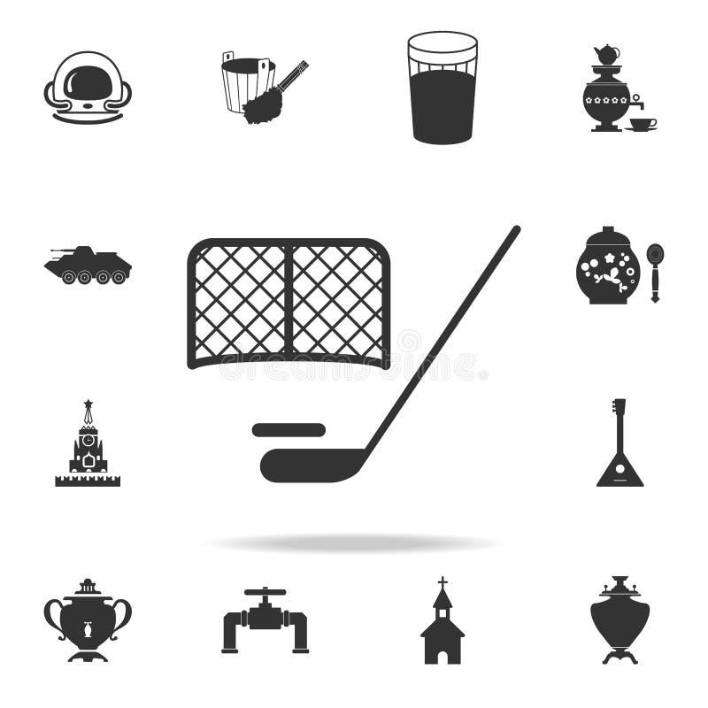 Duende malicioso de hockey e icono de las puertas Sistema detallado de iconos de la cultura rusa Diseño gráfico superior Uno de l ilustración del vector