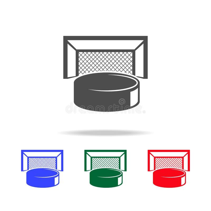 Duende malicioso de hockey e iconos de las puertas Elementos del elemento del deporte en iconos coloreados multi Icono superior d stock de ilustración