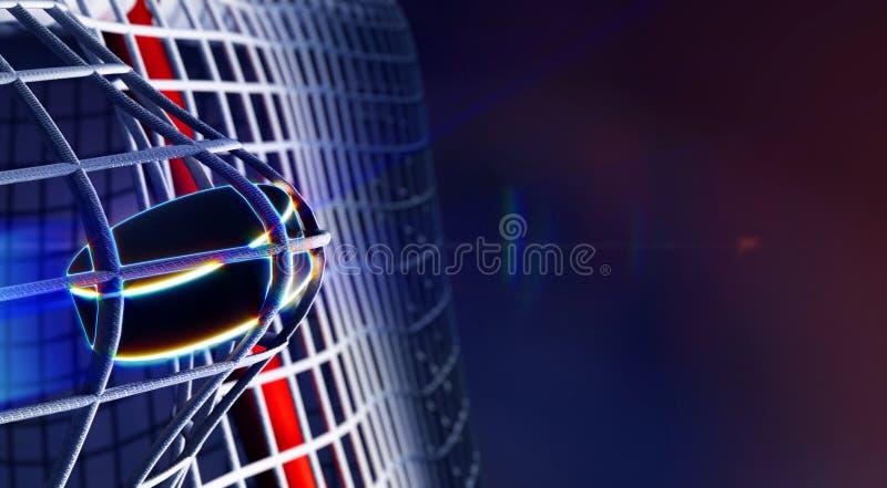 Duende malicioso en la red de la meta del hockey sobre hielo ilustración del vector
