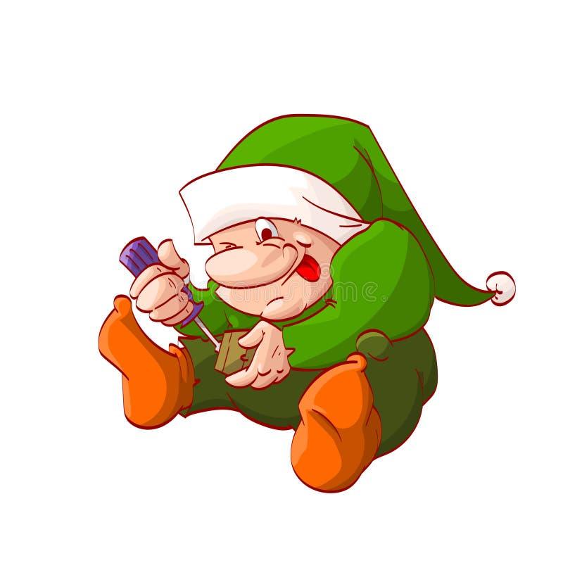 Duende ou anão do Natal dos desenhos animados ilustração royalty free