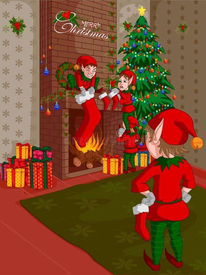 Duende que adorna la chimenea en fondo del día de fiesta de la Feliz Navidad stock de ilustración