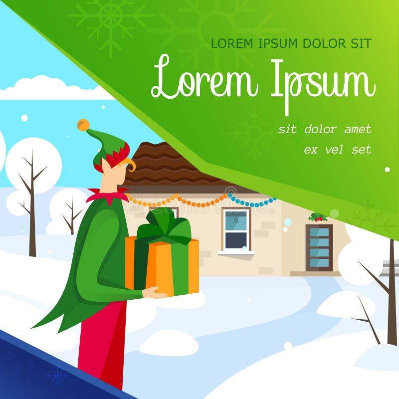 Duende que entrega la bandera del regalo de Navidad en casa stock de ilustración