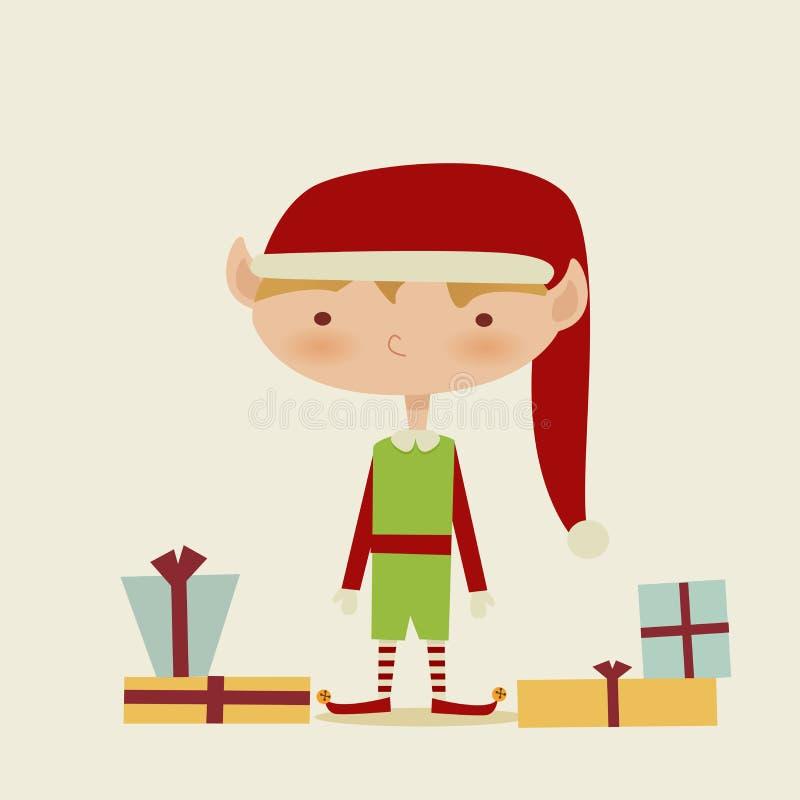 Duende retro lindo de la Navidad ilustración del vector