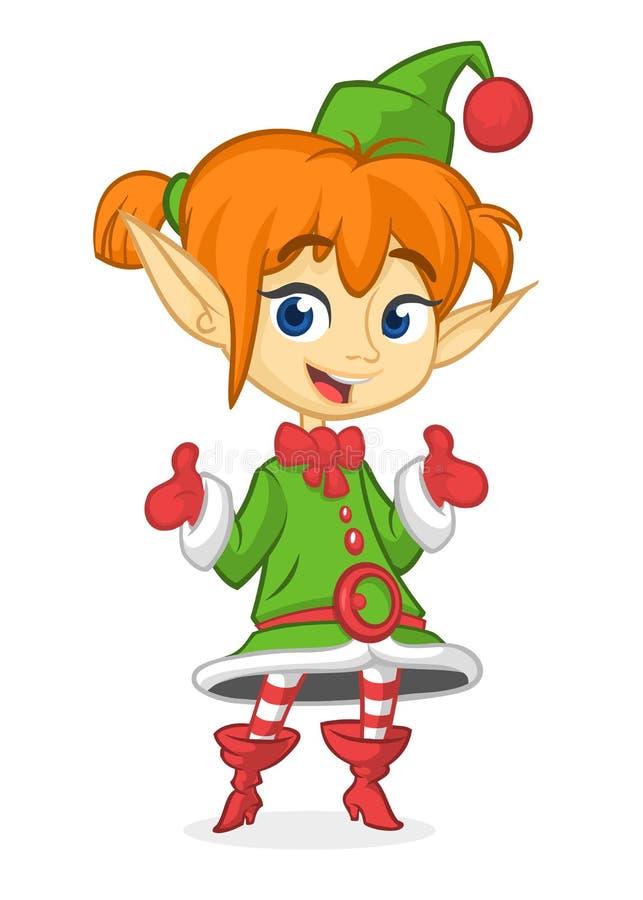 Duende rubio sonriente del ` s de Papá Noel de la Navidad de la muchacha de la historieta feliz Ejemplo del vector aislado en bla ilustración del vector