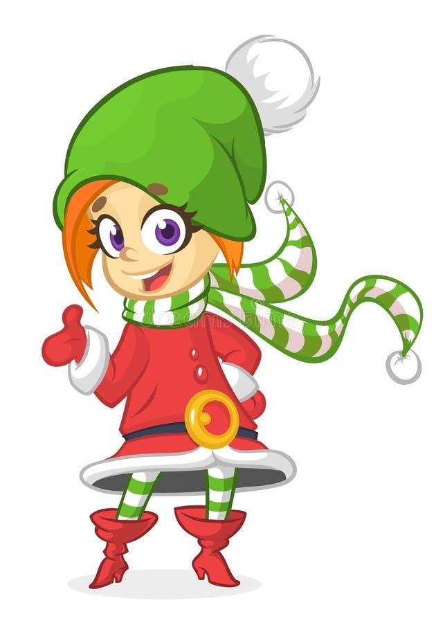 Duende rubio sonriente del ` s de Papá Noel de la Navidad de la muchacha de la historieta feliz Ejemplo del vector aislado en bla libre illustration