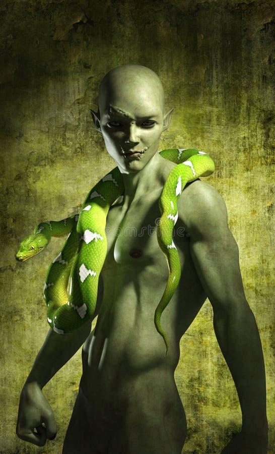 Duende verde com serpente ilustração do vetor