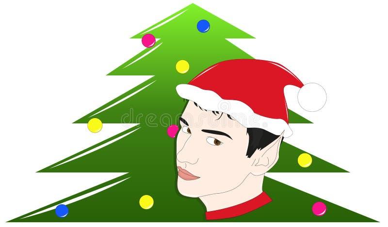 Duende y árbol de navidad ilustración del vector