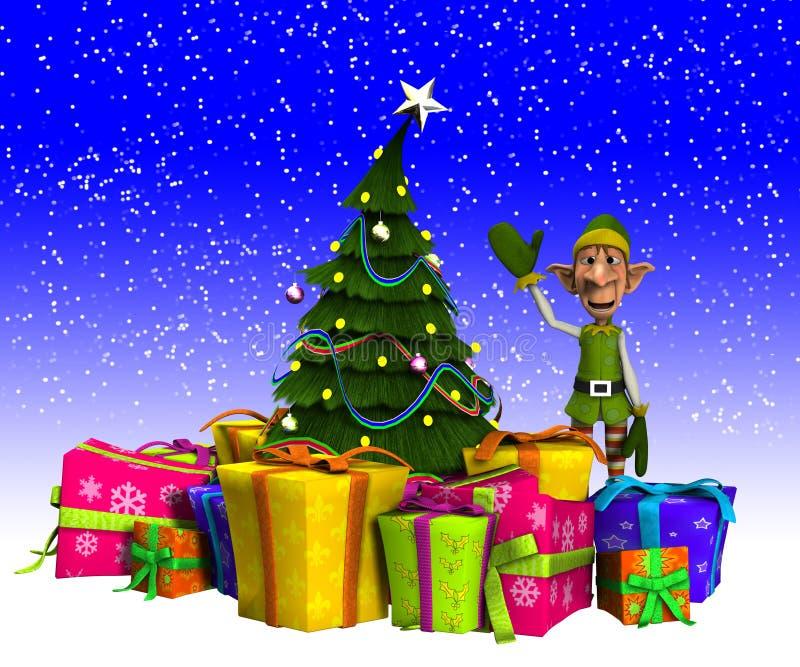 Duende y árbol de navidad con nieve libre illustration