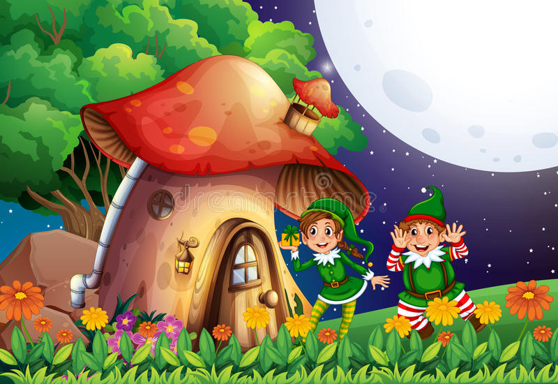 Duende y casa ilustración del vector