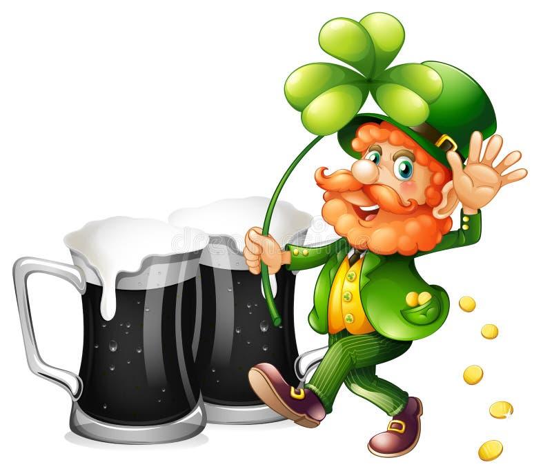 Duende y cerveza negra stock de ilustración