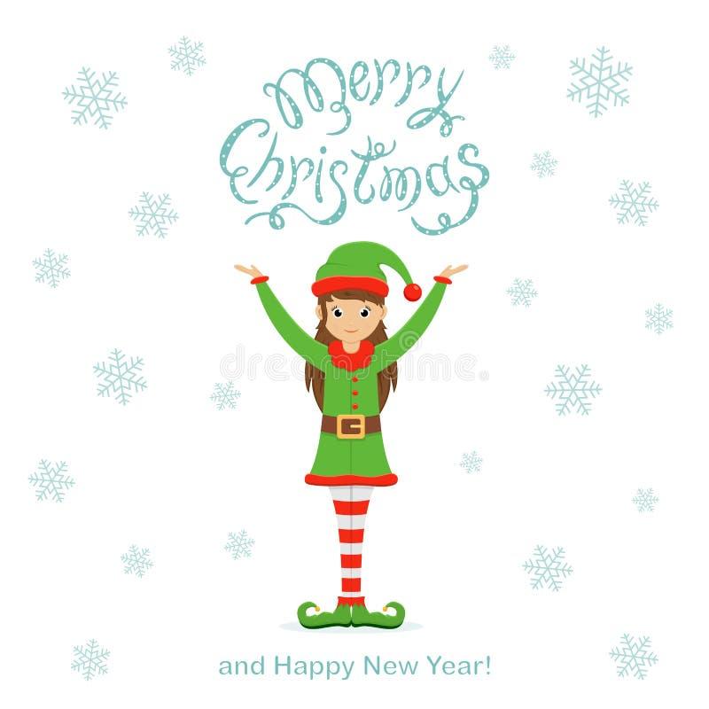 Duende y copos de nieve lindos felices en un fondo de la Navidad blanca ilustración del vector