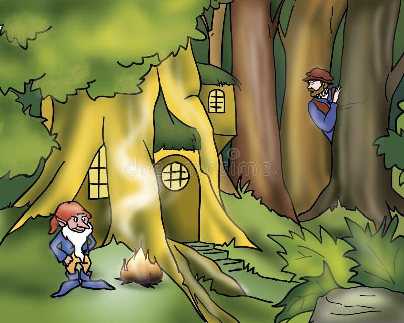 Duende y héroe - cuentos de hadas ilustración del vector
