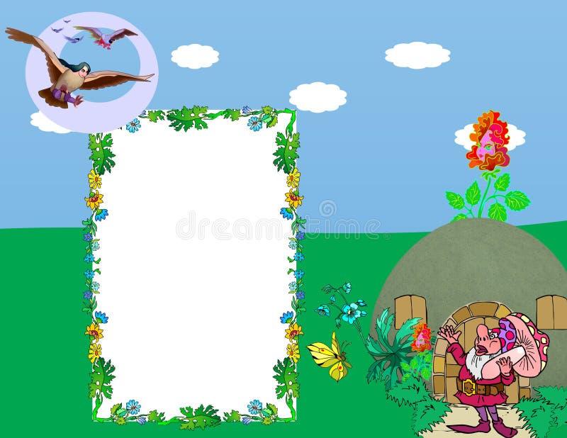 Duende y la señora del pájaro stock de ilustración