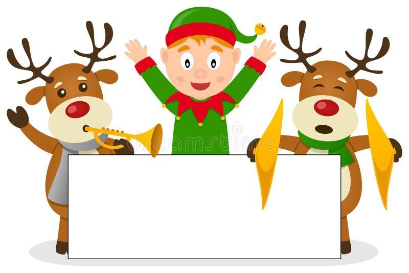 Duende y reno de la Navidad con la bandera ilustración del vector