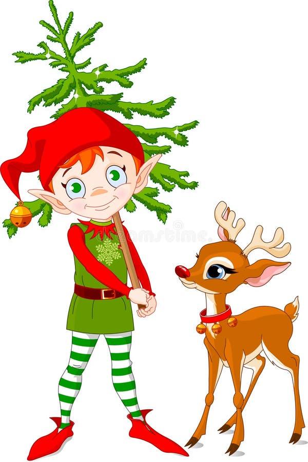 Duende y Rudolf stock de ilustración