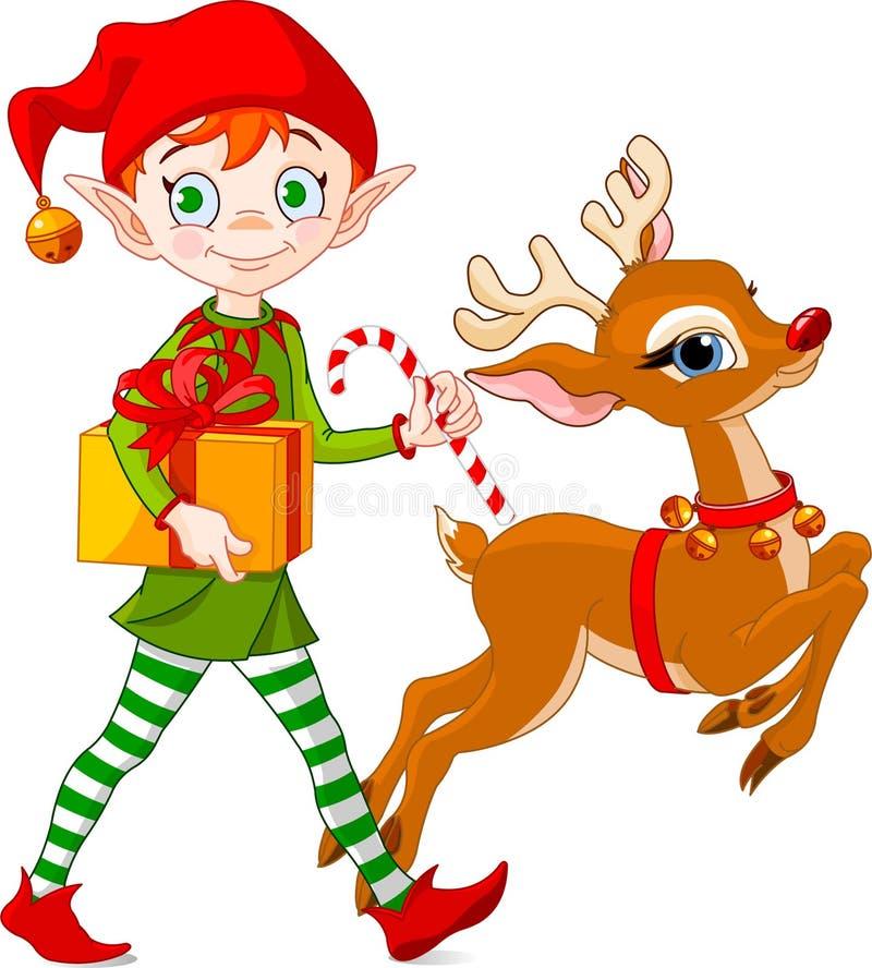 Duende y Rudolph de la Navidad ilustración del vector