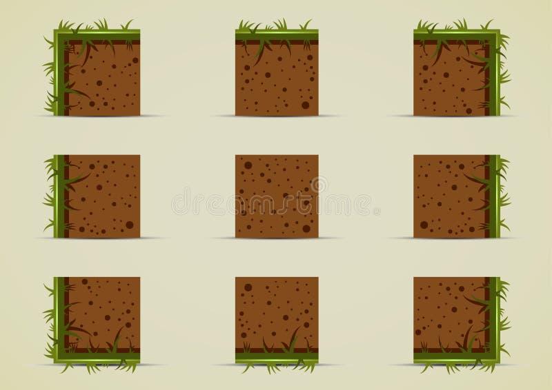 Duendes à terra com grama para criar o jogo de vídeo ilustração stock