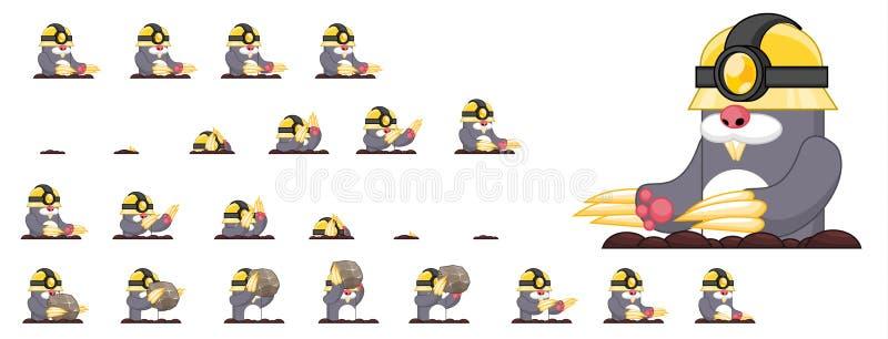 Duendes animados do caráter da toupeira ilustração stock