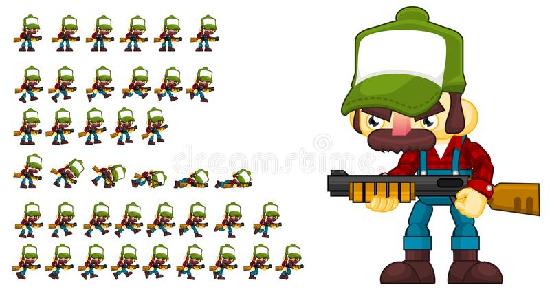 Duendes animados do caráter dos campônios ilustração stock