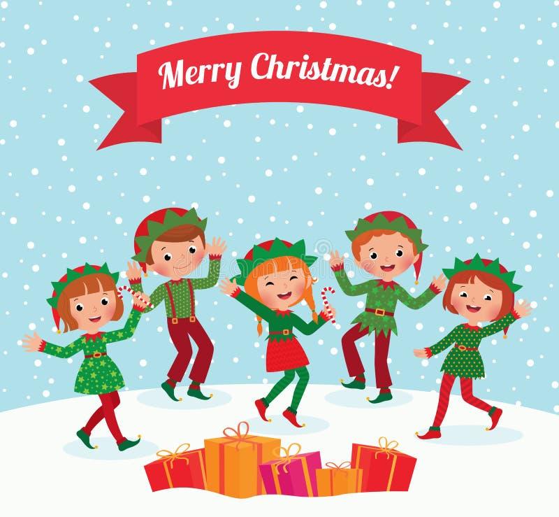 Duendes de la Feliz Navidad stock de ilustración