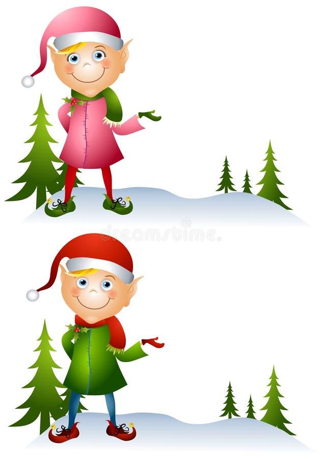 Duendes de la Navidad de la historieta stock de ilustración