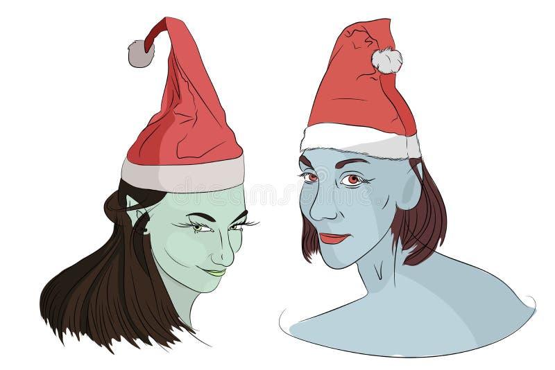 Duendes de la Navidad en nuevo Year& x27; casquillos de s stock de ilustración