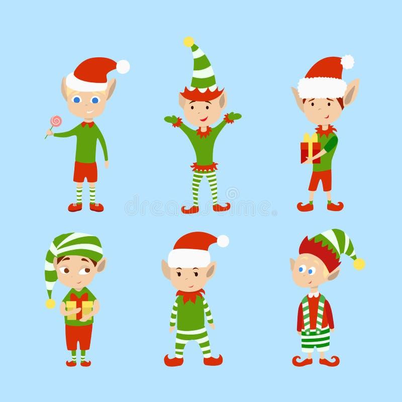 Duendes de la Navidad fijados stock de ilustración