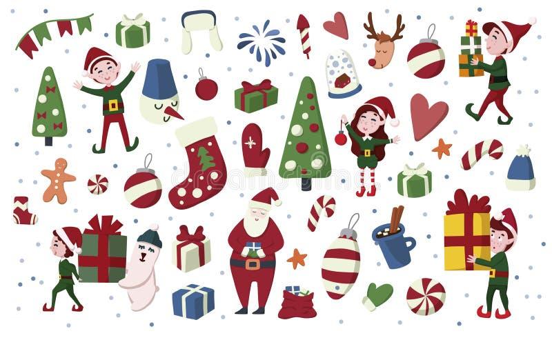 Duendes de la Navidad, Santa Claus, ciervos, regalo etc sistema exhausto de la mano en estilo de la historieta libre illustration