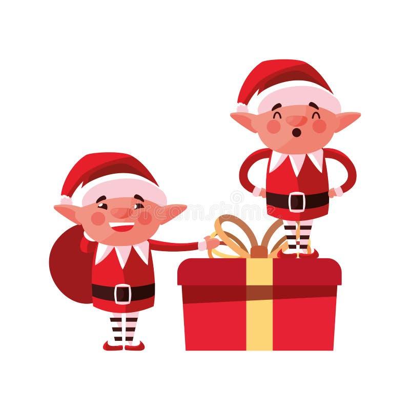 Duendes de la Navidad y cajas de regalo ilustración del vector