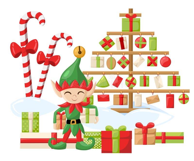 Duendes de Santa Claus Santa s del duende que se preparan para la Navidad Año Nuevo de los regalos del caramelo de la Feliz Navid libre illustration