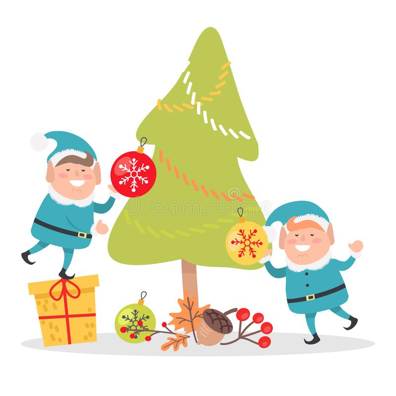 Duendes en Santa Suits Decorate Christmas Tree azul stock de ilustración