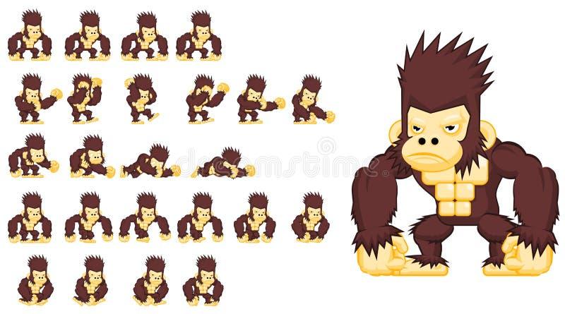 Duendes gigantes animados do caráter do macaco ilustração royalty free